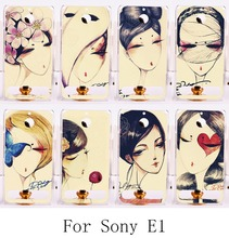 Hard Plastic Cell Phone Cover For Sony Xperia E1 D2005 D2105 Case Painted Retro Style Woman Fashion Design Phone Accessories