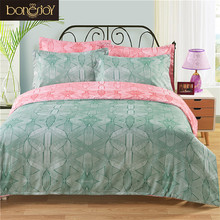 Green and Pink Color Bed Cover 3D Set King Size Reactive Printed 3D Bed Linen Bedding Set Duvet Covers Set