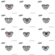 ZMZY November Garnet 925 Sterling Silver Heart Birthstone Charms Beads Fits Pandora Charms Bracelet 12 Month Color Choose