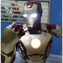 SOSO COOL!  1:2 Scale Iron Man  MK42 Tony Strak ! NEW IRON MAN MODEL 41CM Resin BUST With Led Eye and breast core energy