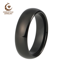 6mm Classic Black Domed Tungsten Ring 8mm Polished shiny Wedding Band Size 4-15 Custom Engraving(China)