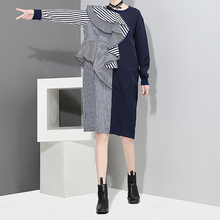 Buy TWOTWINSTYLE Ruffle Striped Knee Length Dress Women Autumn 2017 Long Sleeve Big Size Irregular Lotus Leaf Dresses Female Clothes for $22.32 in AliExpress store