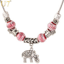 U7 Vintage Tibetan Silver Color Necklace Crystal Beads Jewelry Wholesale Charm Elephant Pendant Necklace For Women P526(China)