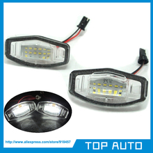 2pcs 18 SMD LED Number License Plate Light For Acura TL TSX MDX Honda Civic Accord City 4D Odyssey