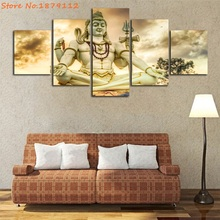 Shiva Statue In Bijapur Religion Buddha Canvas Art 5 Panels Unframed Hot Spray Painting Modern Artwork Living Room Decor(China)