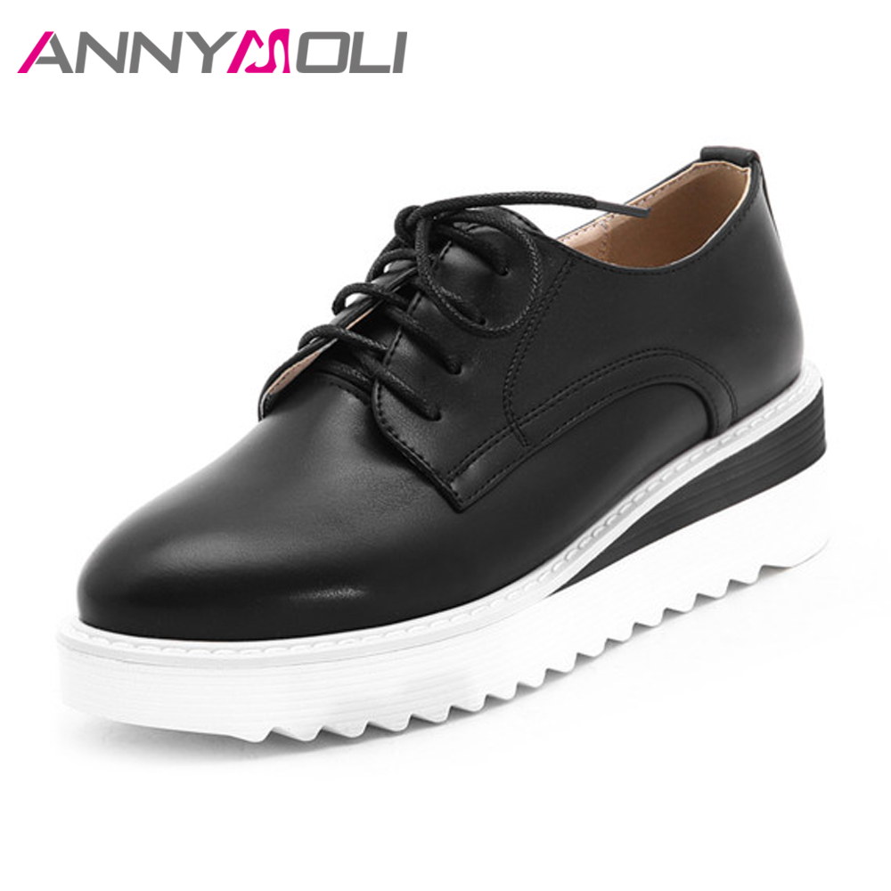 ANNYMOLI Flat Platforms Shoes Women Female Creepers Lace Up Derby Shoes Casual Sneakers Spring Flats Black Red White Big Size 43<br>