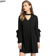 Black Plunge Choker V Neck Shift Mini Dress Women Tied Flared Long Sleeve High Street Straight Loose Fall Brief Dresses(China)