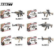 YNYNOO 6PCS MOC Military WW2 swat police GUN M4 AK47 M16 AK74 Building Blocks Brick Arms Weapon Pack City Police Compatible