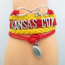 Infinity Love Kansas City State Chiefs Football Sports Team Bracelet red yellow Sport friendship Bracelets B09031(China)