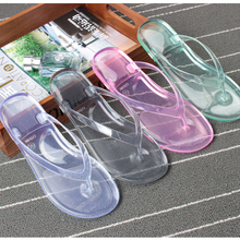 BIGTREE New Stylish Soft Summer Slippers Women Jelly Transparent Crystal Bathroom Anti-slip Womens Shoes Flip Flops 4.8 TXJ(China)