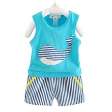 BibiCola Summer Baby Boy Clothes Children Boys Clothing Sets Kids Clothes Set Cartoon Whale Tops+Striped Pants 2PCS Sport Suit(China)