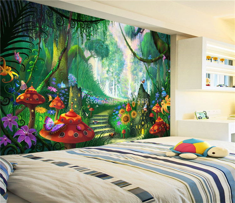 HTB1LSLWSpXXXXcaaXXXq6xXFXXXC - Custom Mural Wallpaper 3D Cartoon Fairy Forest Mushroom Path Wall Painting Children Kids Bedroom Eco-Friendly Photo Wall Papers