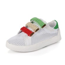2018 New Childrens Hollow Air Mesh Shoes Breathable Lightweight Sneakers For Girls Chuteira Futebol Espadrilles Shoes Anti Slip(China)