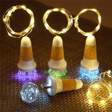 10 LED Copper Wire Wine Bottle Cork Shape Light USB Charge Starry Wedding decor bottle colorful Cork stopper with Crystal Jewel(China)