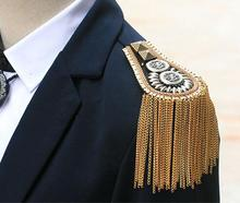 Blazer epaulet unisex accessories/high fringed metal punk shoulder epaulette/spikes brooch handmade men/women jewelry wholesale(China)