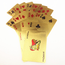 24K Carat Gold Foil Plated Poker Game Playing Cards Jokers Gift Table Games Collection EURO Image Gift for Friends Foil Poker