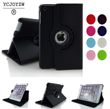 Free shipping Pu Leather Rotating Case Smart Cover Stand Sixth Generation case For Apple for ipad air 2 or Air 1 case Tablet