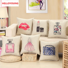 BZ008 Luxury Cushion Cover Pillow Case red lips lipstick perfume bottle home sofa decorative pillow car seat capa de almofada