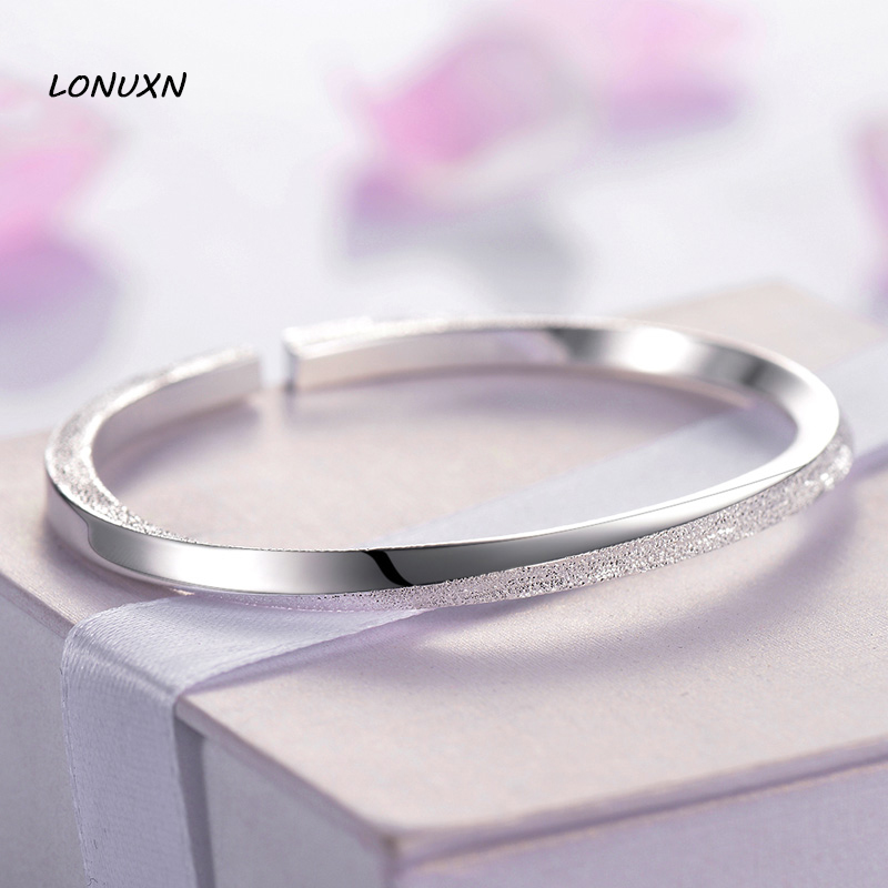 Scrub spiral print open Bangle&Bracelet female pure Authentic 100% 999 Sterling Silver Luxury Jewelry lovers best gift with box