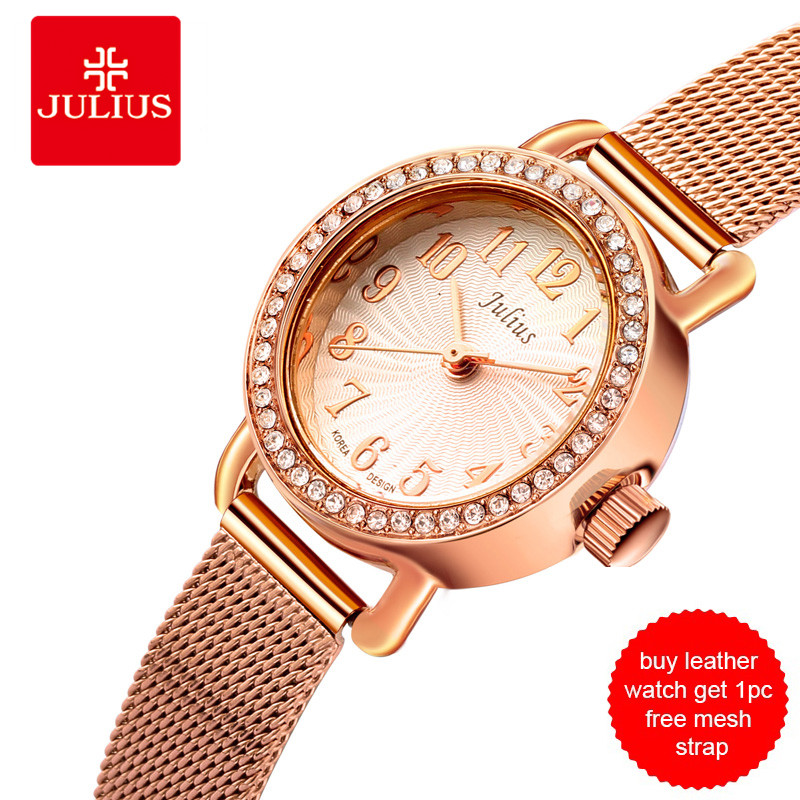 JULIUS Watch Women Black Leather Strap Watch Get 1pcs Free Mesh Strap Elegant Rhinestone Dress Whatch Golden Mesh Watch JA-679<br>
