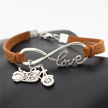 7 Colors Punk Fashion Men Women Antique Silver Infinity Love Harley Motorcycle Charms Motocross Motorsport Leather Wrap Bracelet(China)