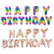 rainbow happy birthday letter foil balloons birthday party decorations kids 16 alphabet
