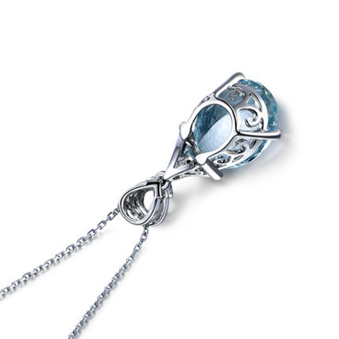 Blue Mermaid Crystal Tear Pendant Chain Necklace