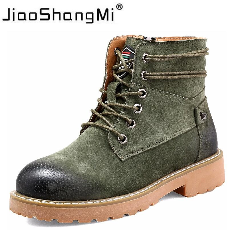 Genuine Leather Martin Boots Women 2017 Fashion Lace-up Round Toe Low Heel Short Motorcycle Boots Winter ArmyGreen Shoes Women<br>