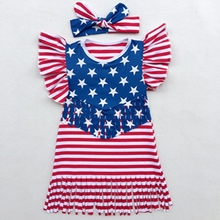 4th Of July Baby Girls Dress Striped Tassel Children Festival Dresses Patriotic American Flag Girls Dresses Retail Kids Clothing(China)