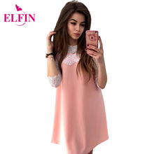 Dresses 2017 Women Casual Straight Solid Party Lace Dress Three Quarter Sleeve O-Neck Loose Mini Dresses Plus Size LJ9354R