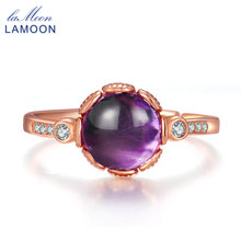 LAMOON Rings For Women 100% Natural Purple Amethyst Gemstone 925 Sterling Silver Fine Jewelry Romantic Wedding Bands Ring RI029(China)