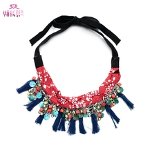 Knitted Rope Chains Necklaces String Tassels Collar Ethnic Statement Chokers Necklaces for Women Costume(China)