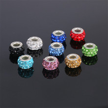 10 pcs/lot free shipping Rhinestone Beads Round DIY Spacer Bead Charm Fit For bracelet For Pandora Charms Bracelet  DIY Jewelry