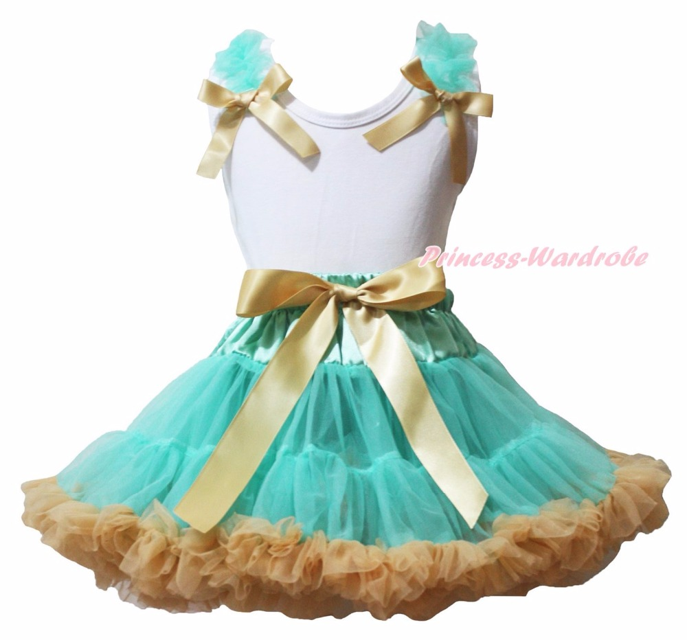 Its My Birthday Bling HOT Little Big Sister Plain White Top Ruffle Bow Aqua Blue Gold Khaki Girls Skirt Clothing Outfit 1-8Y<br>