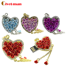 Rose heart shaped Necklace USB 4GB 8GB 16GB 32GB 64GB Flash Memory Stick Pen Drive Disk for Laptop Computer External Storage