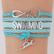 (10Pcs/Lot) Infinity Love Swimming Bracelet Swim Charm Handmade Leather wrap Bracelets & Bangles Best Gift For Swimmers(China)