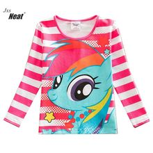 NEAT Retail Autumn 2017 Style Fashion Comfortable Lovely Print Pattern 100% Cotton Girl Long Sleeve T-Shirt kids clothes PD1120(China)