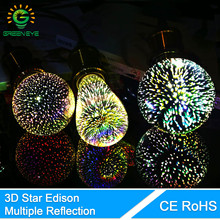 GreenEye 3D Colour Star & Retro LED Edison Bulb E27 Lamp Decoration Novelty Light st64 g80 g95 a60 Holiday Wedding Party Ampoule(China)