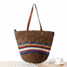 Korea Lovely Stripe Straw Bag Hand Woven Straw Tote Bag Summer Beach Bag Girls Casual Travel Holiday Bags