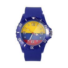 2018 Football World Cup Colombian Flag Pattern Soft Comfortable Silicone Quartz Wristwatch Stylish Casual Unisex Watches(China)