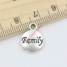 25pcs Tibetan Silver Plated Word Family Charms Pendants for Jewelry Making DIY Handmade 15x12mm A123