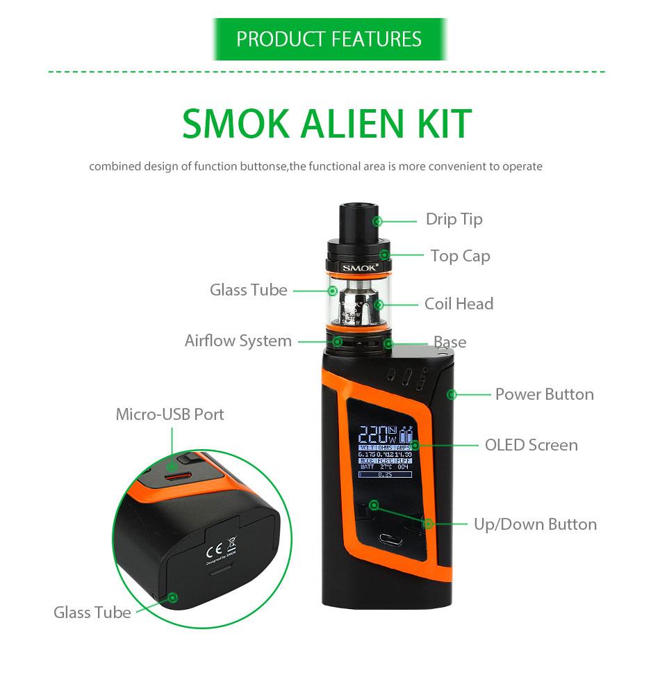 Original 2W SMOK Alien Vape Kit with 3ml Smok TFV8 Baby Tank Atomizer & Box Mod E-cig Starter Kit VS Smok G-priv/G3/GX350 5