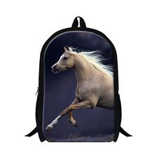 Dispalang trendy white horse backpacks for teens 3D animal printed back pack magazine 16 inch schoolbags for primary students