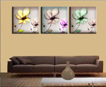 Artistic Transparent Flowers Modern Art Wall Art Wall Decorative Canvas Print Set Of 3 (no frame) 40*40cm living room pictures