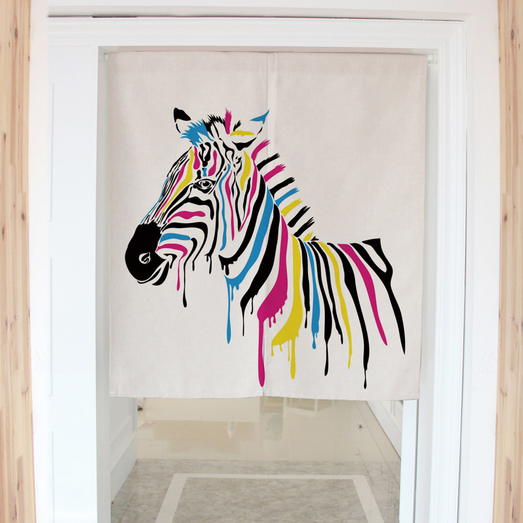 Nordic style zebra horse painting decorative door curtains fabric cloth cotton home screens partition bathroom kitchen curtains<br><br>Aliexpress