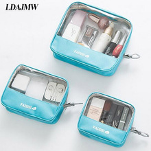 LDAJMW Transparent Cosmetic Storage Bags PVC Makeup Bag Travel Organizer Beauty Case Toiletry Bag Bath Wash Make up Box Handbag