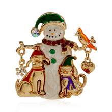 SHUANGR Gold Color Christmas Snowman Dog Costume Brooch Cheap Red Rhinestone Christmas Brooches Lot Collar Clip For Scarf Buckle