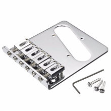 High Quality 8x9.5cm Silver Adjustable Chrome Tele Guitar Bridge 6 Flate Style Saddles Parts Accessories For Fender Telecaster