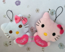 Kawaii Wedding Love Heart Hello Kitty Stuffed Toy Doll , 6CM IN 2Colors- string rope Pendant Stuffed Plush TOY DOLL