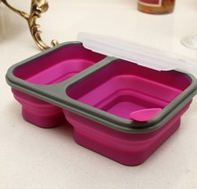 2 Cells Silicone Collapsible Portable Bento Box 900ml Microwave Oven Bowl Folding Food Storage Lunch Container Lunchbox